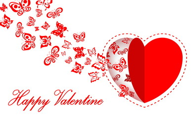 heart and butterfly with valentine card