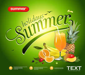 Vector summer background with the image of a tropical fruit