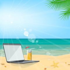 Business tourism. Summer beach vacation, seascape, laptop on the sand. Travel agency. Vector