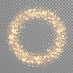 Hearts valentine wreath gold glitter pattern background