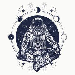 Astronaut in the lotus position tattoo art. Symbol of meditation