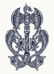 Axe in the Celtic style tattoo art. Thor's Hammer axe viking