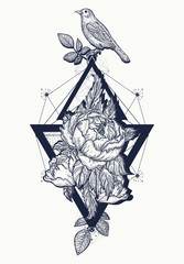 Birds and rose, tattoo and t-shirt design boho art