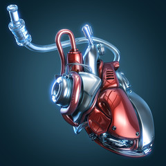 concept robot heart 3d illustration