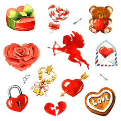 Valentine's Day. Watercolor clipart