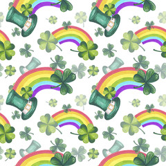St Patrick's Day Illustration Seamless Pattern Hand-Painted Green Shamrock Background Texture Wallpaper Scrapbook Paper