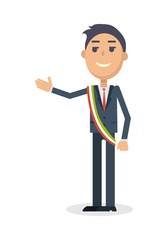 Mayor Character Flat Style Vector Illustration