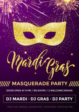Mardi Gras gold mask glitter vector card
