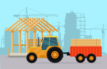 Tractor. Construction. Process of Building House.