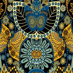 Retro Boho Floral Ornament Pattern. Vector Illustration