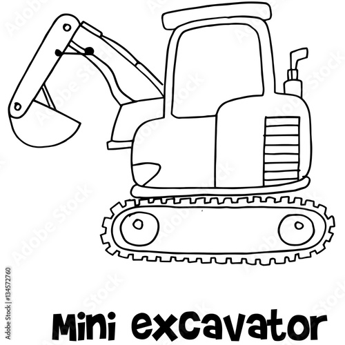 Vector of mini excavator hand draw