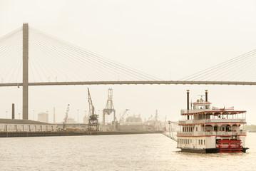 Paddle-wheeler cruising towards Talmadge Memorial bridge and Port of  Savannah, GA
