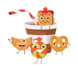 Bon Appetit. Funny Cartoon Characters Banner.