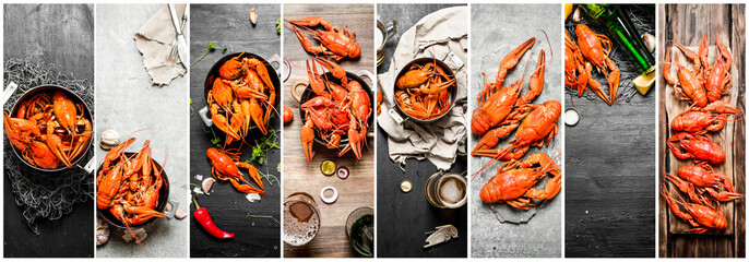 Food collage of crayfish.