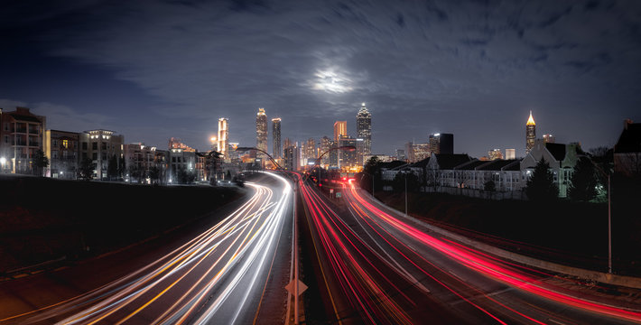 Panorama of Atlanta city night skyline