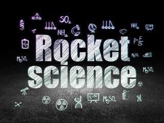 Science concept: Rocket Science in grunge dark room