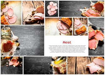 Food collage of ham.