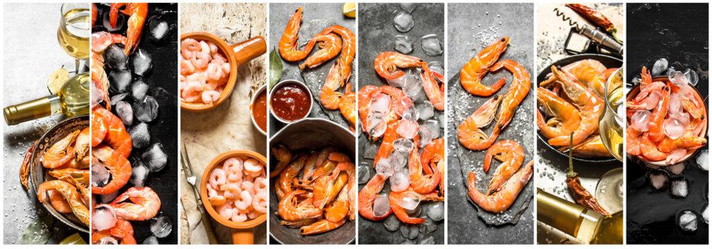 Food collage of shrimp.