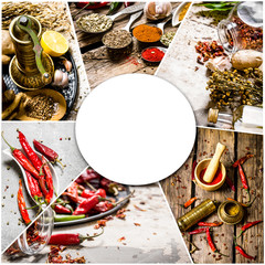 Food collage of herb and spice.