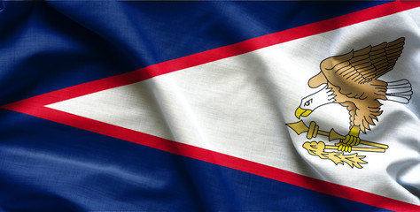 Waving Fabric Flag of American Samoa