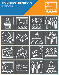 Business training seminar presentation line icons set, outline vector symbol collection, linear white pictogram pack. Signs, logo illustration, web graphics