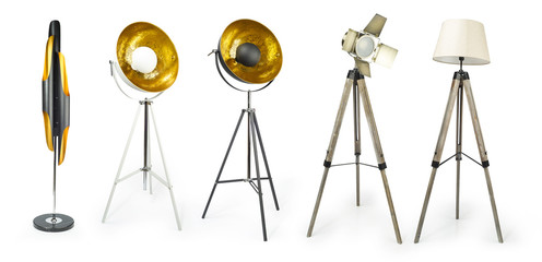 Set of Tripod Light projector isolated on white with clipping path included, Decorative light projectors isolated..
