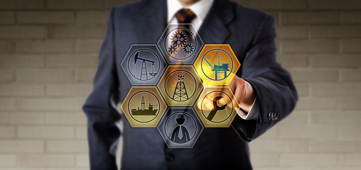 Service Manager Touching A Virtual Oil Rig Icon