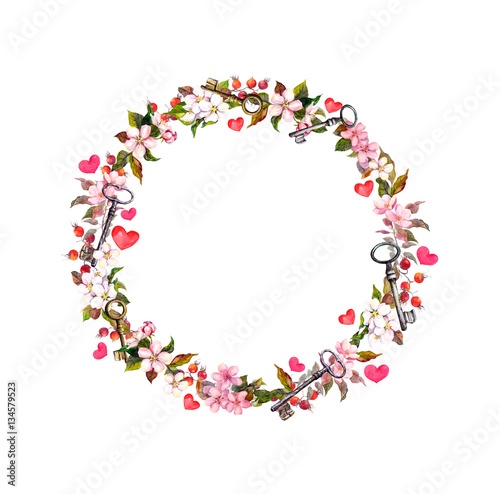 Quot Floral Wreath With Pink Flowers Hearts Keys Watercolor