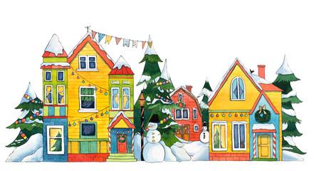 Watercolor Winter/Christmas Street Houses
