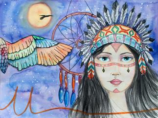 Watercolor Indian Girl