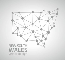 New South Wales grey vector dot mosaic polygonal triangle contour map