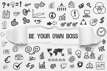 Be Your Own Boss / weißes Papier mit Symbole