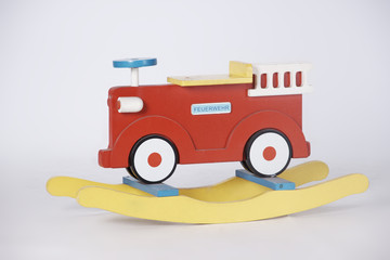 Shaking Wooden Fire Truck in White Background