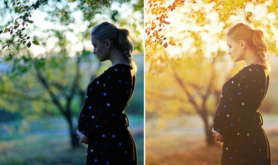Before and after example of photo edit of pregnant woman at autumn garden