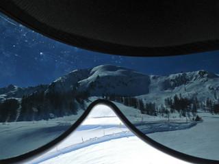 Blick durch Skibrille