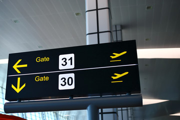 directional sign at airport