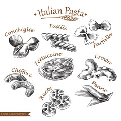Hand drawn italian pasta set isolated on white background. Collection of different types of noodle sketch vector illustration. Retro style