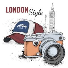 Hand drawn cap and vintage camera on background. Run Concept. London, Big Ben. Vector illustration