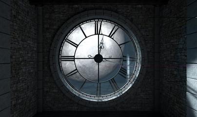 Antique Backlit Clock And Moon Fotoväggar
