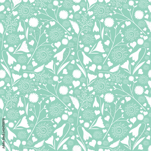White flower pattern vector seamless on mint green background white flower pattern vector seamless on mint green background floral print for spring cards mightylinksfo