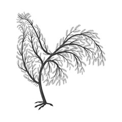 New Year symbol stylized branches cock.  For use as logos on car