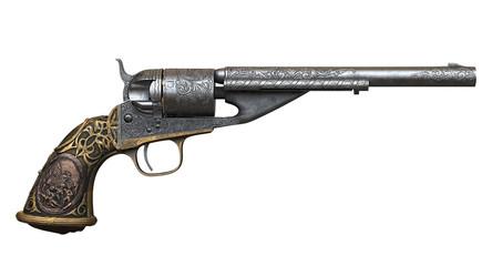 3d rendering Colt 1861 Navy Conversion Revolver on white background