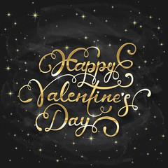 Golden lettering Happy Valentines Day on black chalkboard backgr