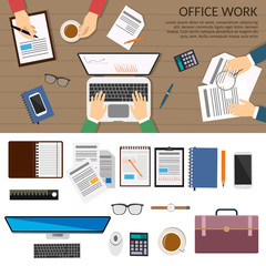 Simple and flat design set of business concept, training, meeting, agreement or partnership. Character of businesspeople, group, diverse. Office work vector background set.