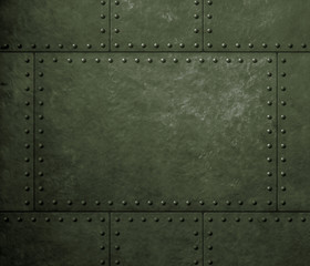 Wall Mural - military green metal armor background with rivets