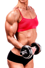 fitness woman with barbell on white background, isolated