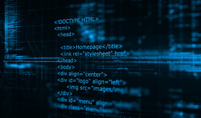 HTML code programming software background/Programming code abstract technology background of software developer and Computer script.