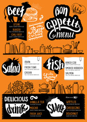 Menu restaurant, food template.