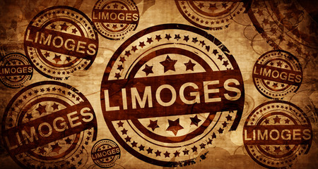 limoges, vintage stamp on paper background