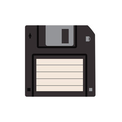 Isolated icon of 3,5 floppy disk used in 90s as media for saving information.